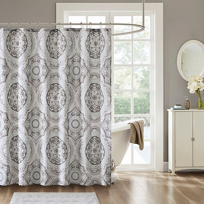 Alternate image 1 for Madison Park June Shower Curtain in Grey