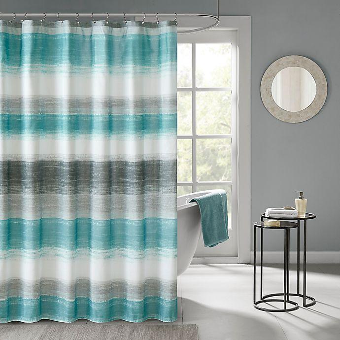 Alternate image 1 for Madison Park Saben Shower Curtain in Aqua