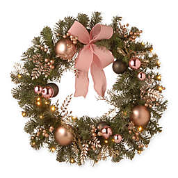 National Tree Company 28-Inch LED Evergreen Pine Wreath in Pink