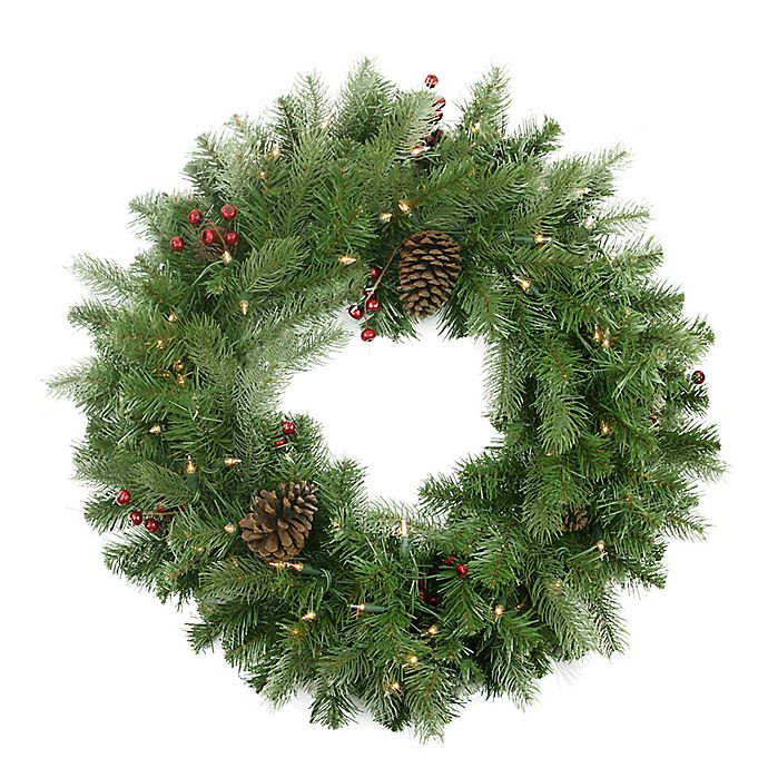 Alternate image 1 for Northlight 24-Inch Artificial Noble Fir Pre-Lit Wreath with Pine Berries
