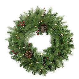 Northlight 24-Inch Artificial Noble Fir Pre-Lit Wreath with Pine Berries