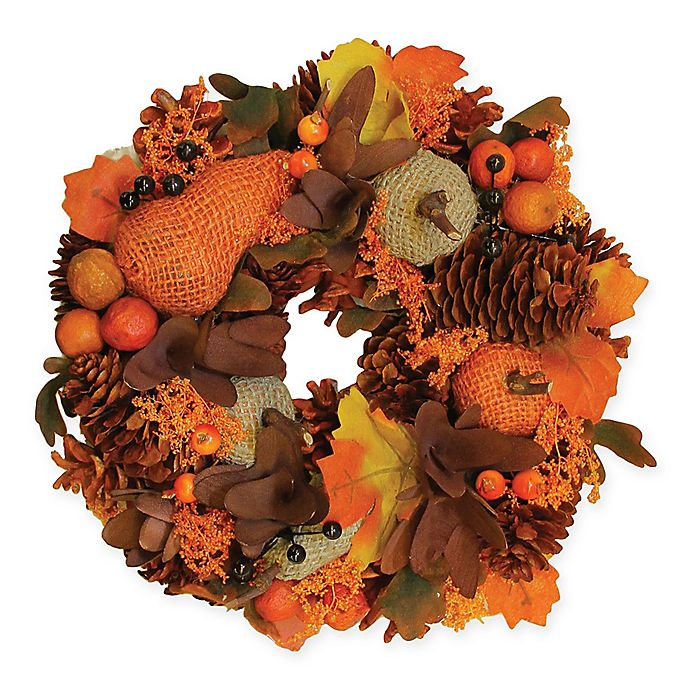 Alternate image 1 for 10-Inch Artificial Autumn Harvest Gourds & Berries Wreath