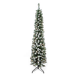 Northlight 6-Foot Flocked Traditional Pre-Lit Pencil Tree in Green
