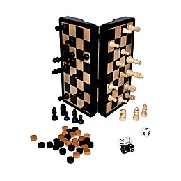 """John N. Hansen Co. Classic Game Collection 8"""" Magnetic Dark Wood 3-in-1 Game Set"""