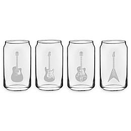 Susquehanna Glass Guitar Beer Can 4-Piece Tumbler Set