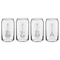 Susquehanna Glass Guitar Beer Can 4-Piece Tumbler Set