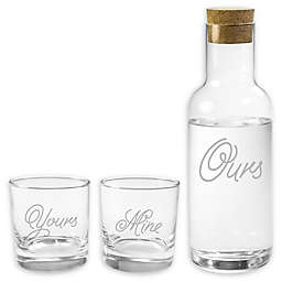 Susquehanna Glass Yours, Mine, & Ours Carafe & Stemless Glass 3-Piece Set