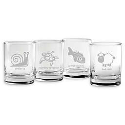Susquehanna Glass Punny Animals Assorted Rocks Glasses (Set of 4)