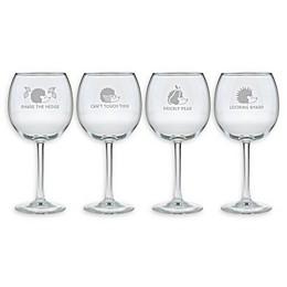 Susquehanna Glass Hedgehog Humor Red Wine Glasses (Set of 4)