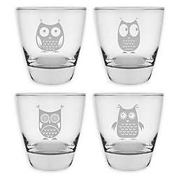Susquehanna Glass Owls Assorted Double Old Fashhioned Glasses (Set of 4)
