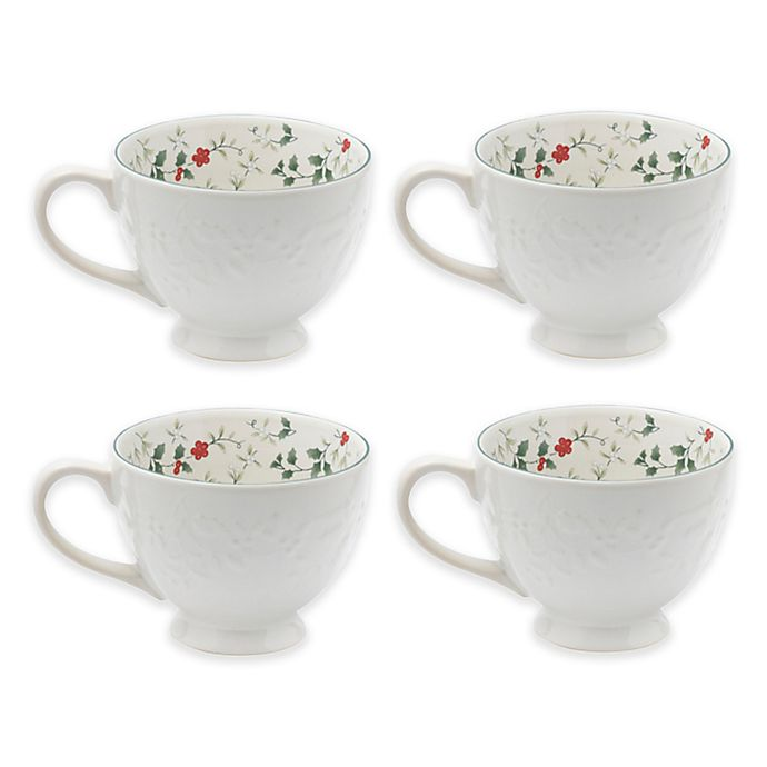 Alternate image 1 for Pfaltzgraff® Winterberry Embossed Footed Mugs (Set of 4)