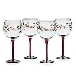 Pfaltzgraff® Winterberry Sentiment Wine Glasses (Set of 4)
