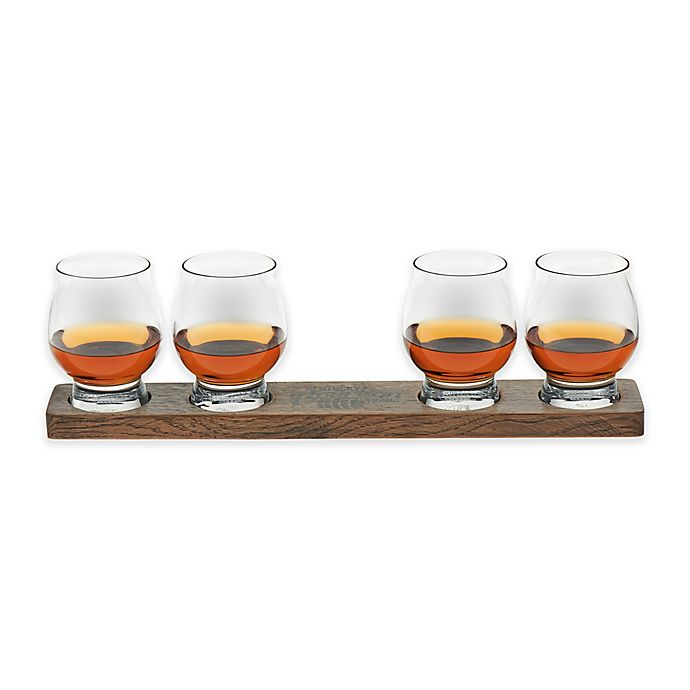 Alternate image 1 for Libbey® Signature Kentucky Bourbon Trail Whiskey Glasses and Wood Paddle (Set of 4)