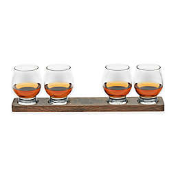 Libbey® Signature Kentucky Bourbon Trail Whiskey Glasses and Wood Paddle (Set of 4)