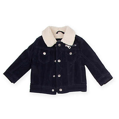 Urban Republic Suede Sherpa Jacket in Navy