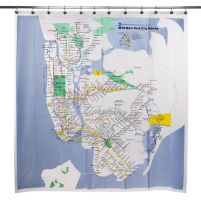 Mta New York City Subway Map Vinyl Shower Curtain Bed