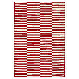 Unique Loom Striped Tribeca 4' x 6' Powerloomed Area Rug in Red
