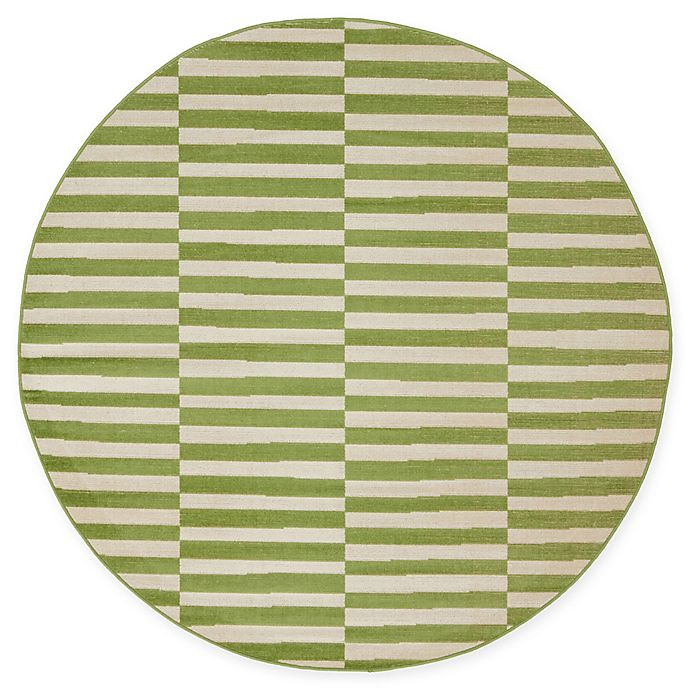 Alternate image 1 for Unique Loom Striped Tribeca 5' Round Powerloomed Area Rug in Green