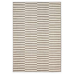 Unique Loom Striped Tribeca 4' x 6' Powerloomed Area Rug in Grey