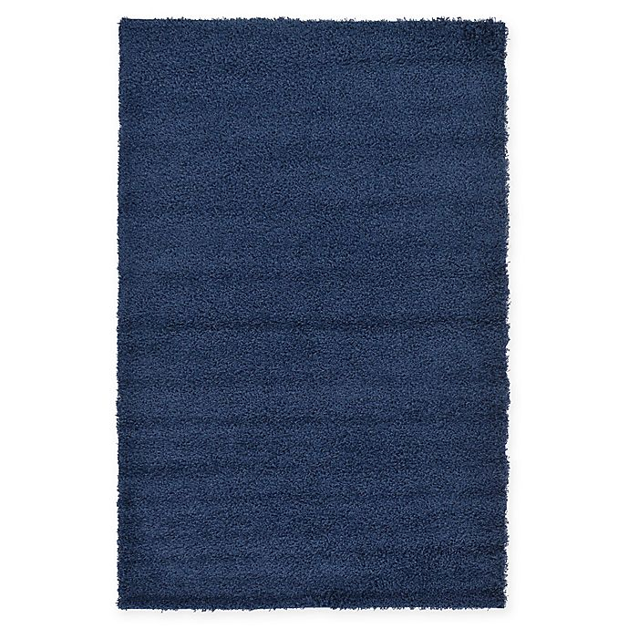 Alternate image 1 for Unique Loom Solid Shag 5' X 8' Powerloomed Area Rug in Navy