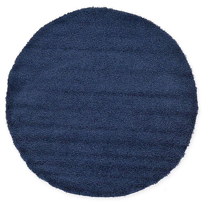 Alternate image 1 for Unique Loom Solid Shag 6' Round Powerloomed Area Rug in Navy