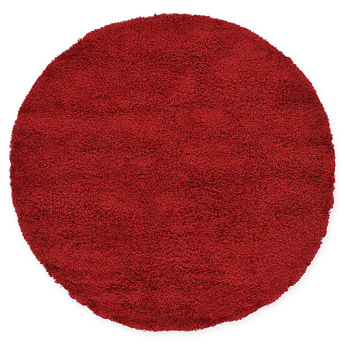 Alternate image 1 for Unique Loom Solid Shag 6' Round Powerloomed Area Rug in Cherry Red