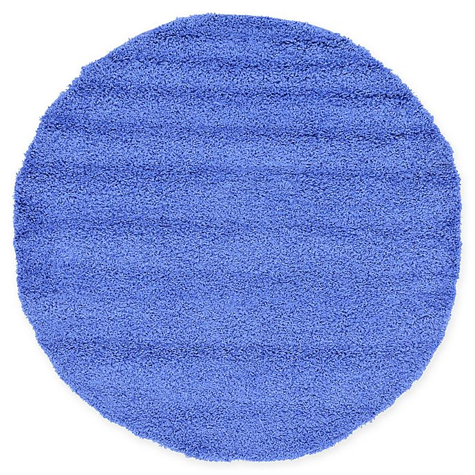 Alternate image 1 for Unique Loom Solid Shag 6' Round Powerloomed Area Rug in Periwinkle