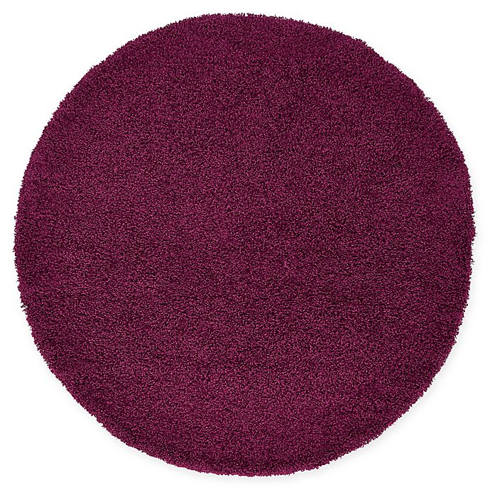 Alternate image 1 for Unique Loom Solid Shag 6' Round Powerloomed Area Rug in Eggplant