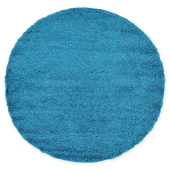 Alternate image 1 for Unique Loom Solid Shag 6' Round Powerloomed Area Rug in Turquoise