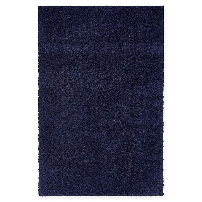 Alternate image 1 for Unique Loom Solid Shag 4' X 6' Powerloomed Area Rug in Midnight Blue