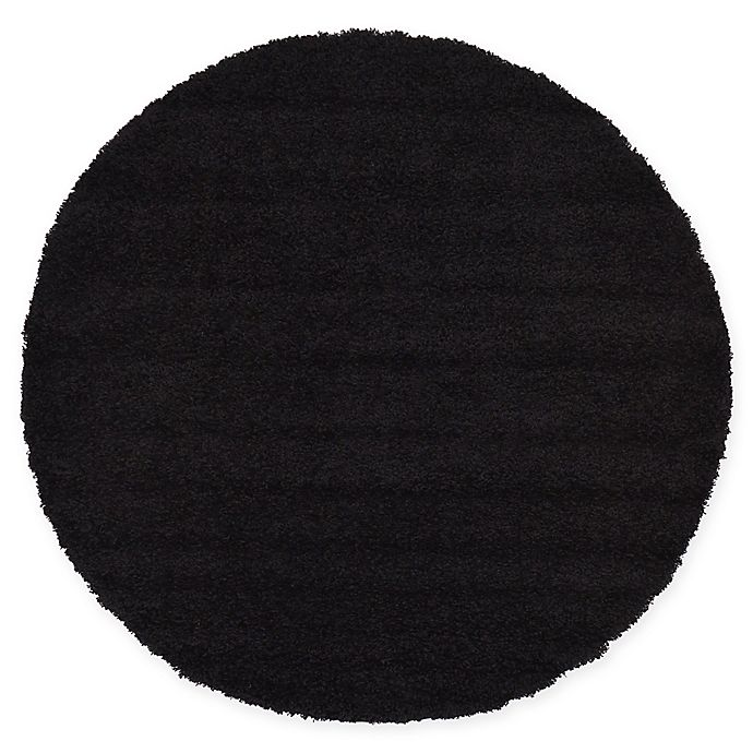Alternate image 1 for Unique Loom Solid Shag 6' Round Powerloomed Area Rug in Jet Black