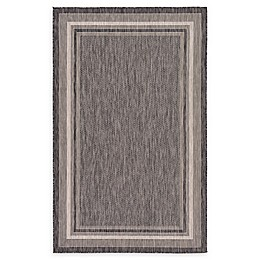 Unique Loom Soft Border Powerloomed Indoor/Outdoor Rug in Black