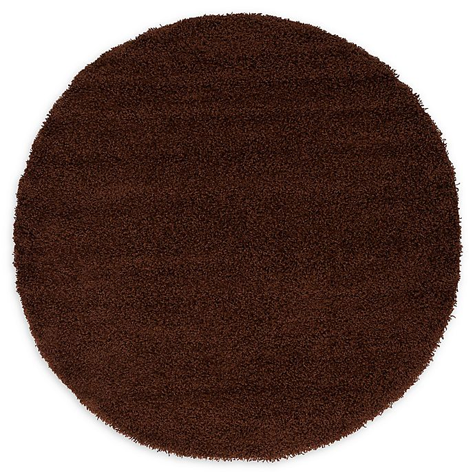 Alternate image 1 for Unique Loom Solid Shag 6' Round Powerloomed Area Rug in Chocolate Brown