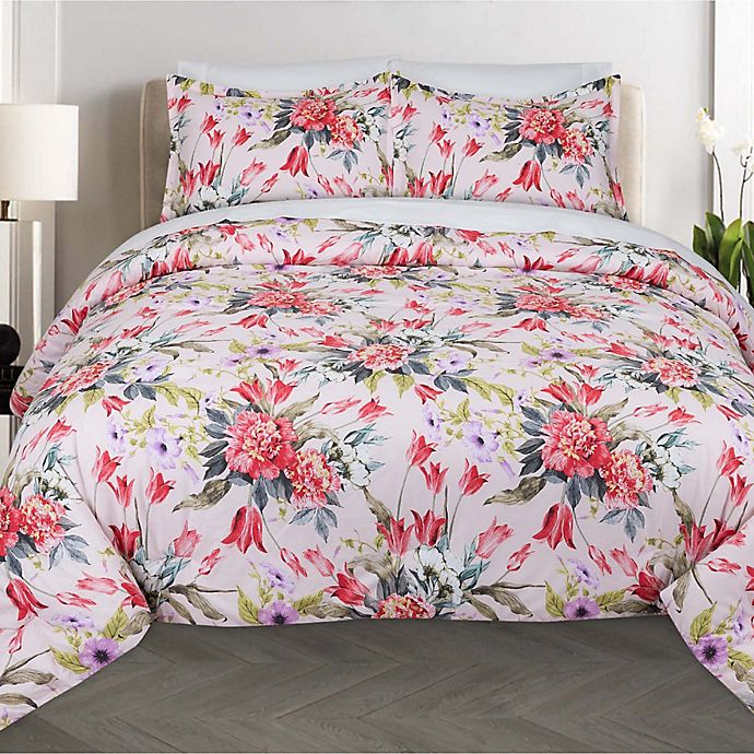 Alternate image 1 for Nouvelle Home Bouquet 2-Piece Twin XL Comforter Set in Pink/Red