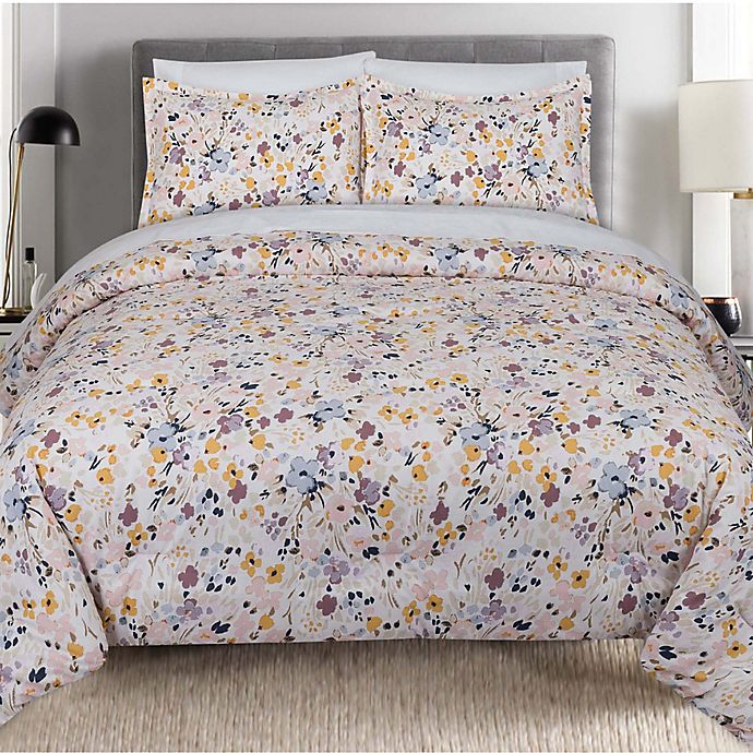 Alternate image 1 for Nouvelle Home Floral Splatter 3-Piece Full/Queen Comforter Set in Pink/Yellow