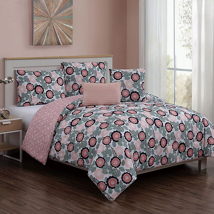 Alternate image 1 for Marka 5-Piece Reversible Queen Comforter Set in Blush/Green