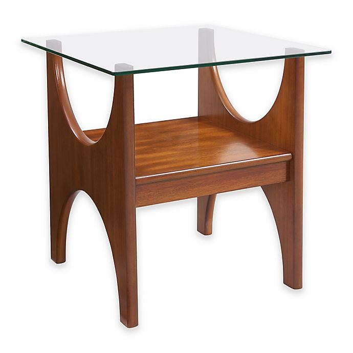 Alternate image 1 for Southern Enterprises Syden Glass-Top End Table in Dark Sienna