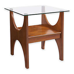 Southern Enterprises Syden Glass-Top End Table in Dark Sienna