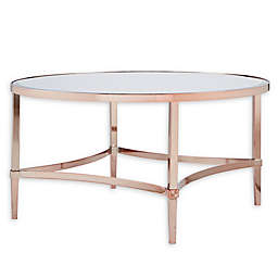 Madison Park Signature Triton Round Coffee Table in Rose Gold