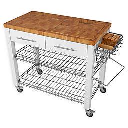 Chris & Chris Chef Kitchen Wire Shelf Work Station Cart in White
