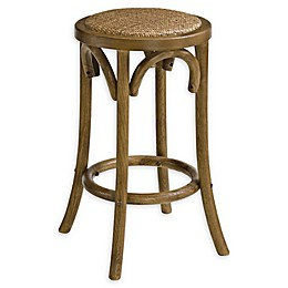 Linon Home Rae Rattan Backless Bar Stool in Walnut