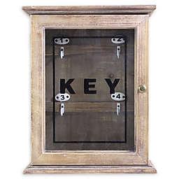 Splash 4-Hook Wood and Glass Key Cabinet