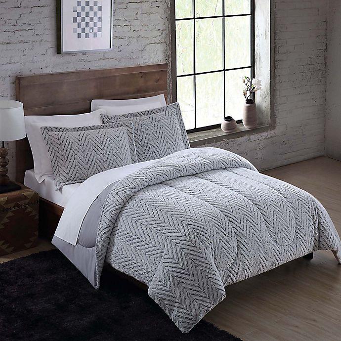 Alternate image 1 for Faux Fur 3-Piece King Comforter Set in Arctic Grey