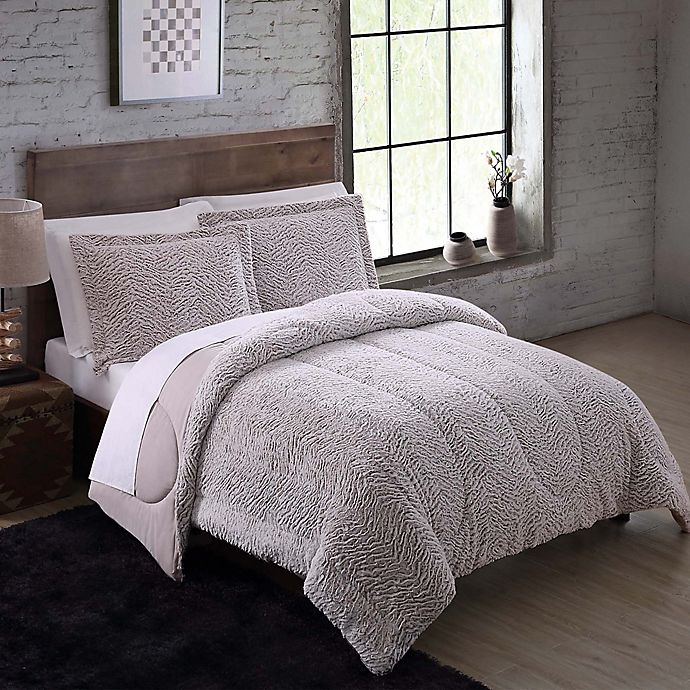 Alternate image 1 for Faux Fur 3-Piece Full/Queen Comforter Set in Nordic Taupe