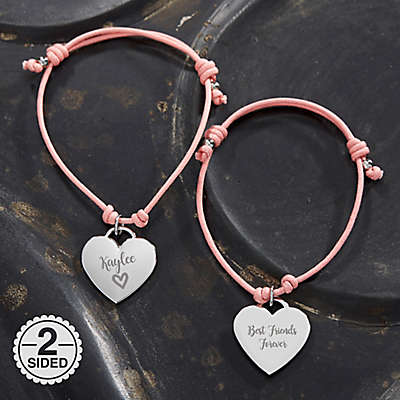 Sliding Knot 6-Inch Heart Charm Friendship Bracelet in Pink