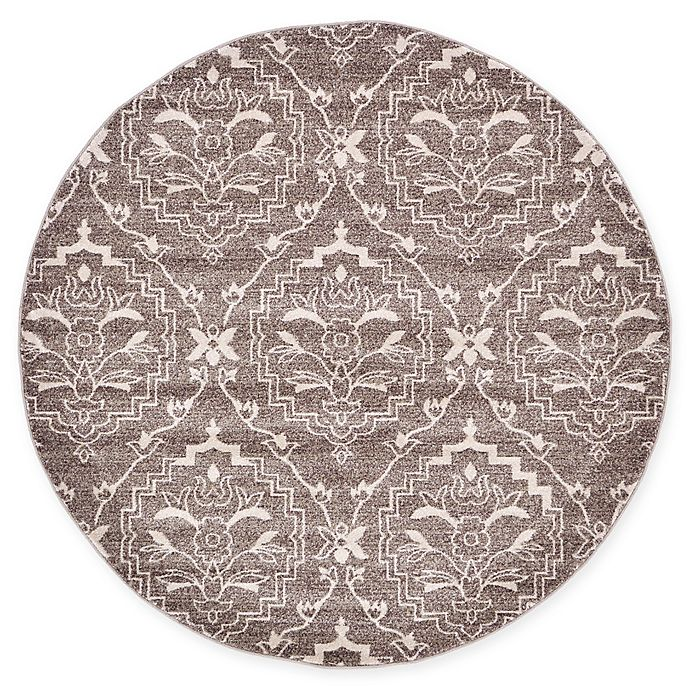 Alternate image 1 for Unique Loom Joyous Damask 6' Round Powerloomed Area Rug in Light Brown