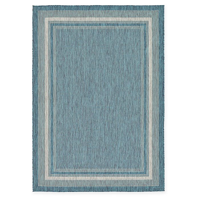 Alternate image 1 for Unique Loom Soft Border Outdoor 7' X 10' Powerloomed Area Rug in Teal