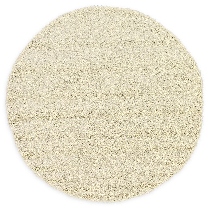 Alternate image 1 for Unique Loom Solid Shag 6' Round Powerloomed Area Rug in Pure Ivory
