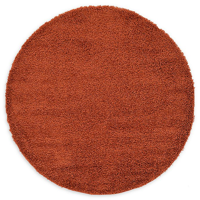 Alternate image 1 for Unique Loom Solid Shag 6' Round Powerloomed Area Rug in Terracotta