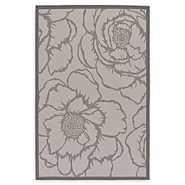 Unique Loom Rose Indoor/Outdoor Area Rug in Grey